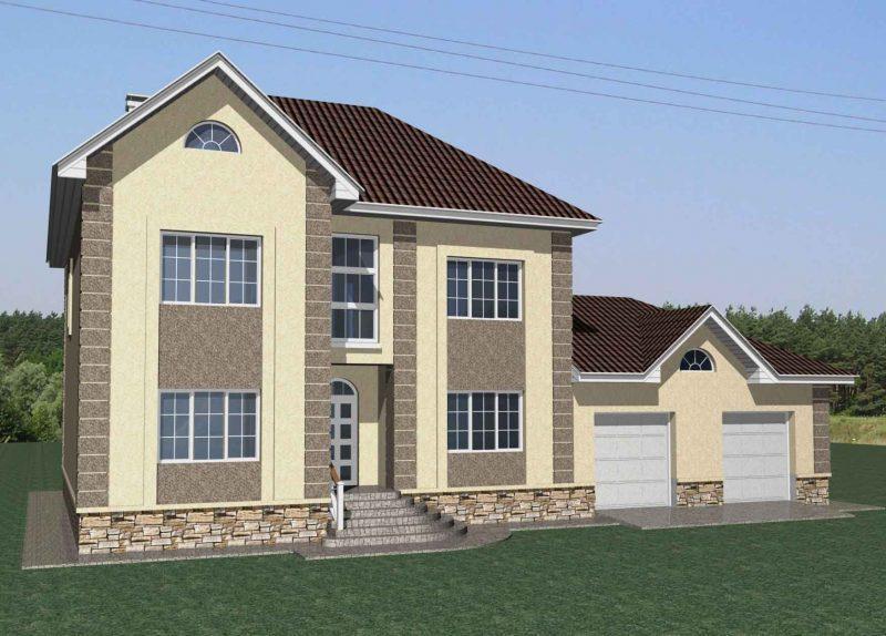 Проект двухэтажного дома с 2 гаражами