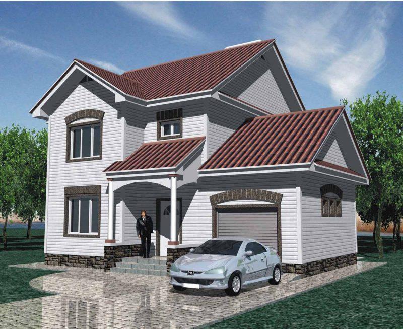 Проект двухэтажного дома из сайдинга