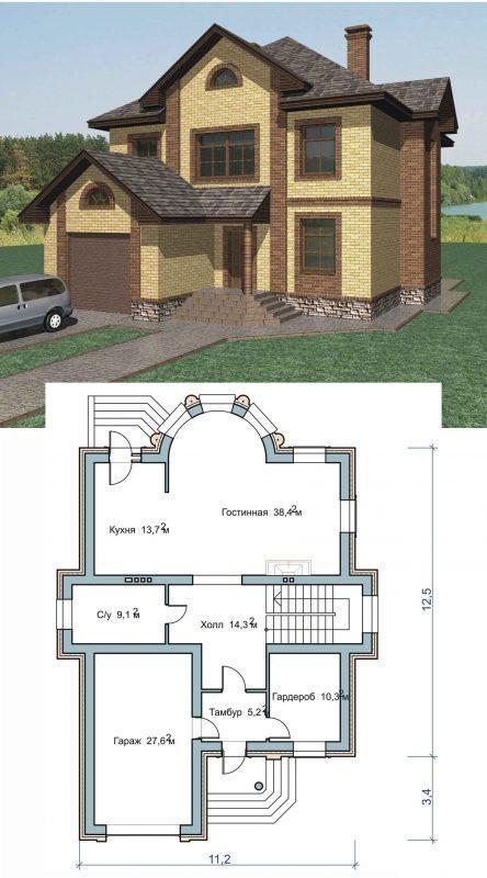 Проект двухэтажного дома с облицовкой фаготом