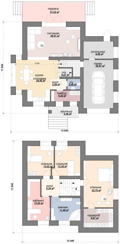 план двухэтажного коттеджа с гаражом и террасой