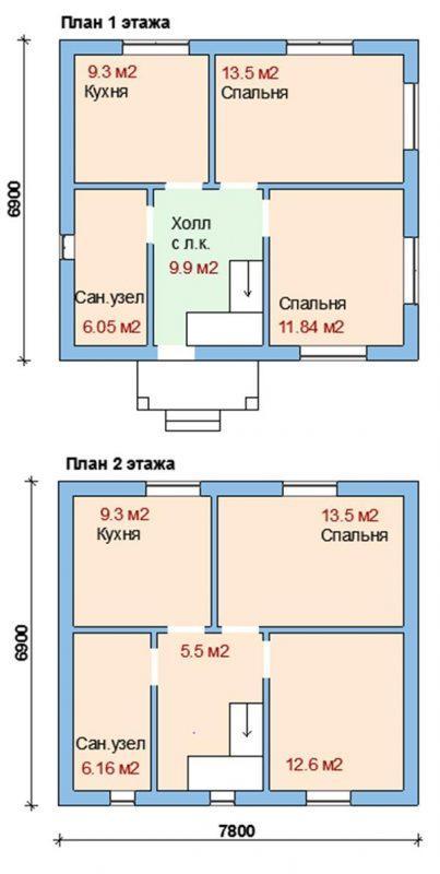 план двухэтажного дома до 100 кв.м.
