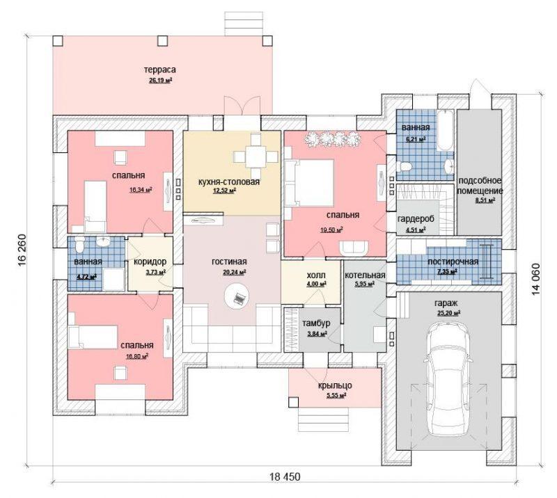 план дома с тремя спальнями и гаражом