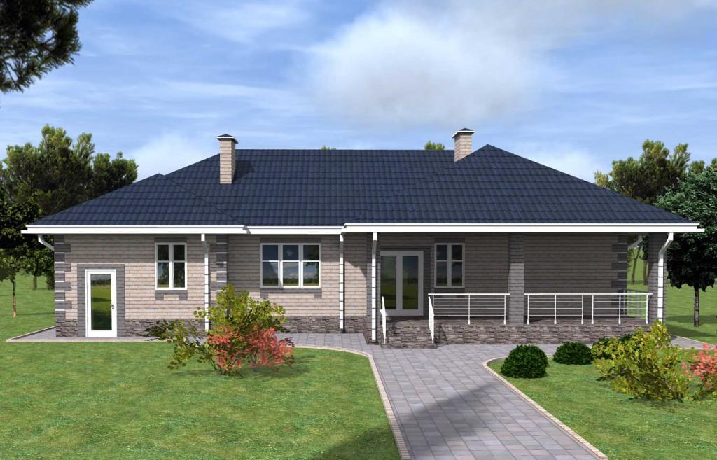 Проект дома с тремя спальнями террасой и гаражом, ракурс 2