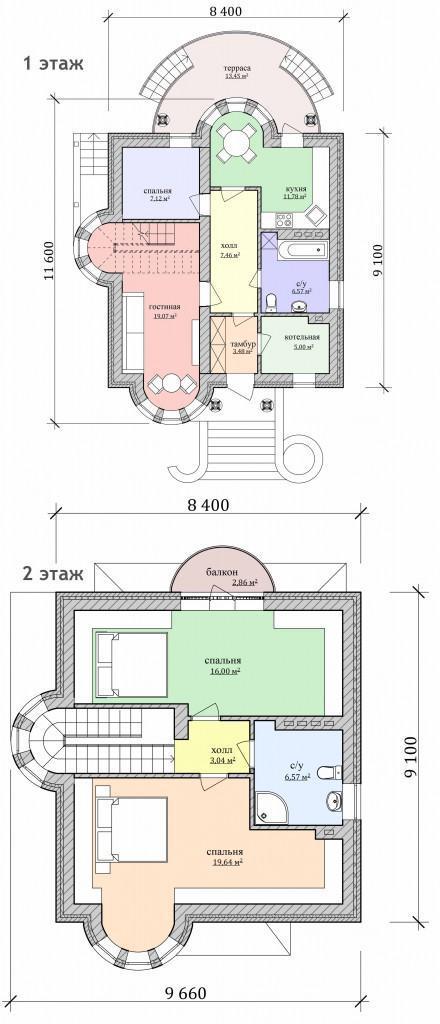 план дома с башней