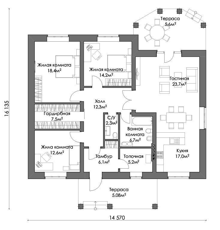 план дома с кухней-гостиной и тремя спальнями
