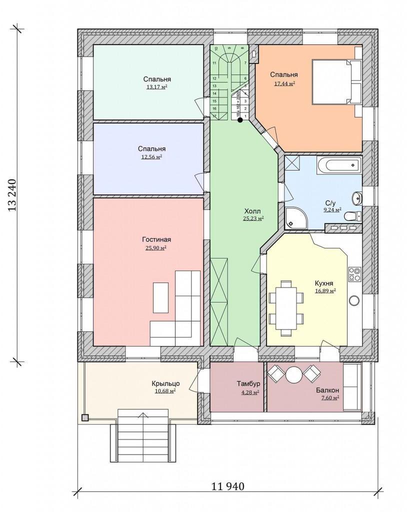 план одноэтажного дома с комнатой наверху