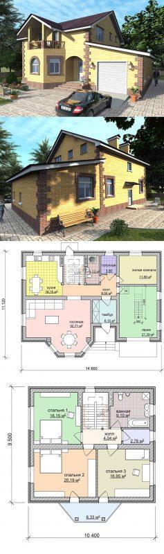 готовый проект дома с балконом и гаражом
