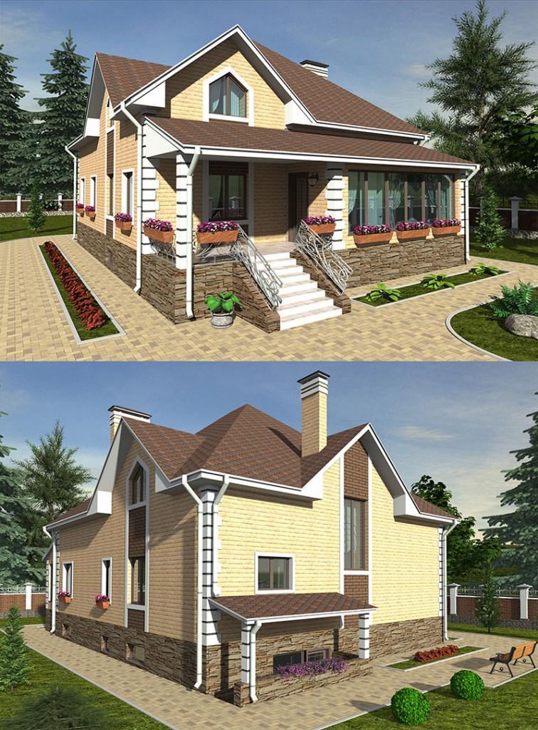 Проект одноэтажного дома с комнатой наверху
