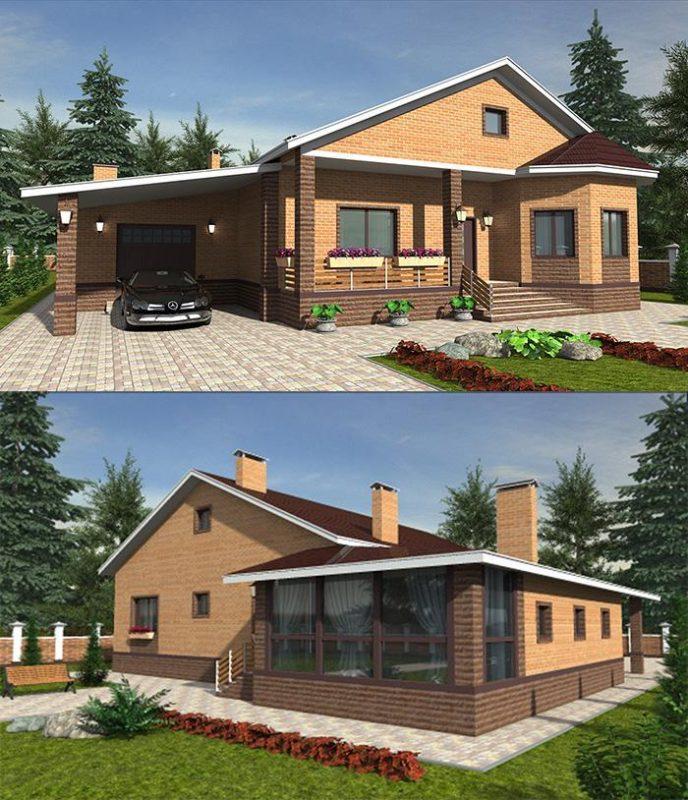 фасады дома с эркером гаражом и навесом