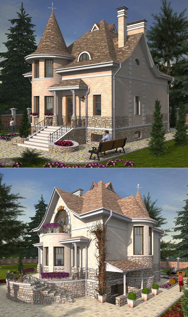 Проект элегантного дома с круглой башней