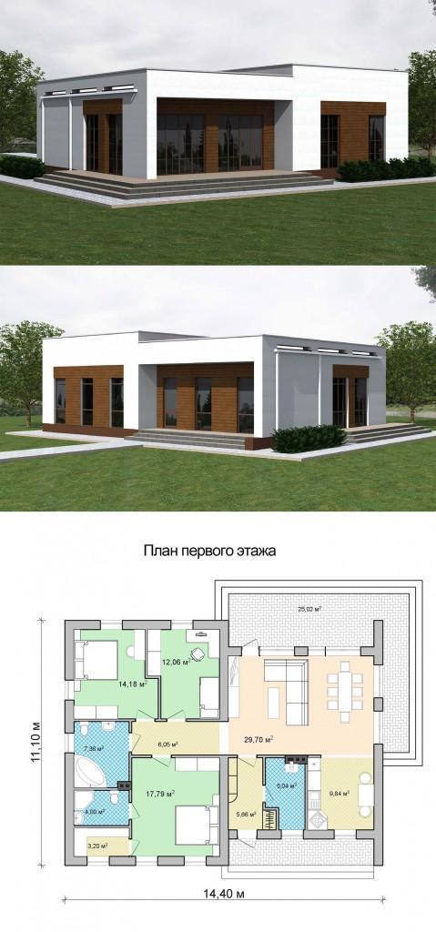 проект одноэтажного дома с плоской крышей план