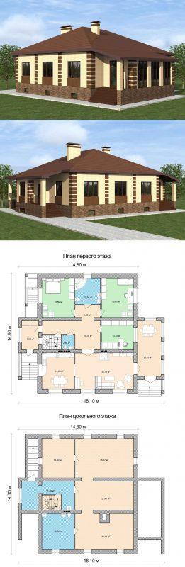 Проект пятикомнатного дома с верандой план