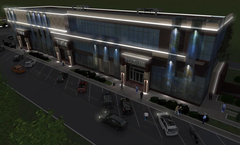 проект торгово-офисного центра, ночной вид