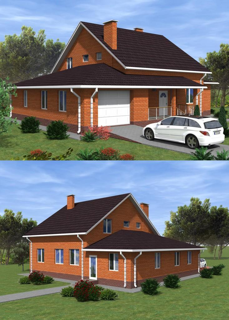 Проект дома с гаражом до 200 кв.м.