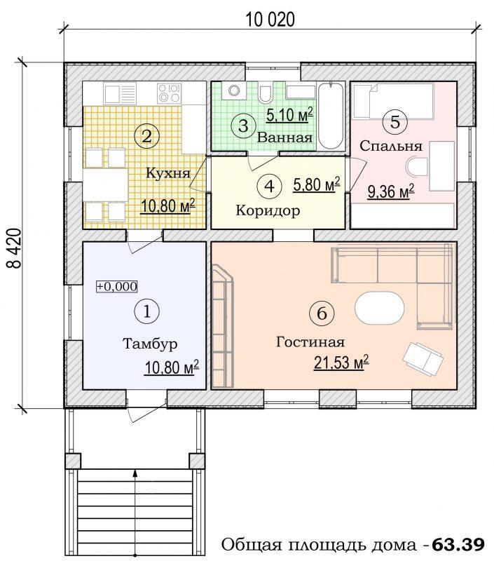 Каркасный дачный дом одноэтажный проект Д-1 6х8