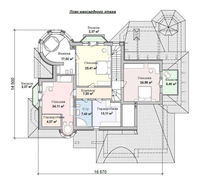 план мансардного этажа красивого дома