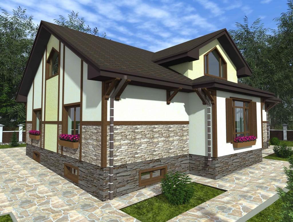 проект дома с мансардой и гаражом вид 2