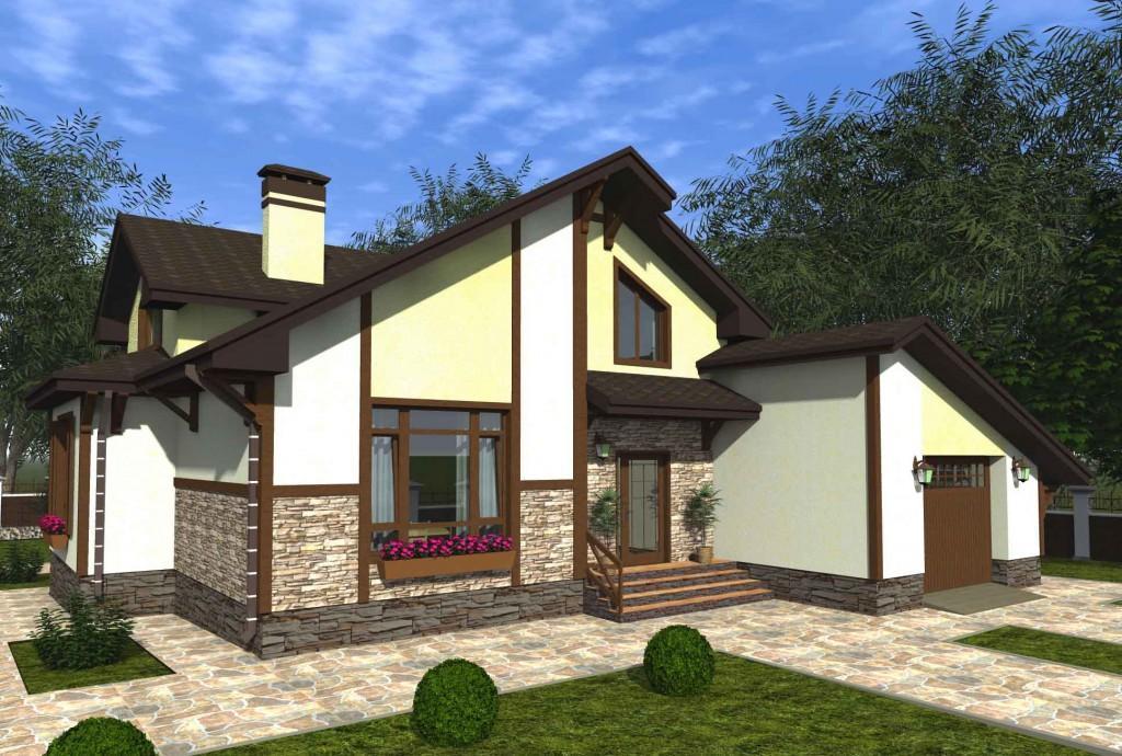 проект дома с мансардой и гаражом вид 3