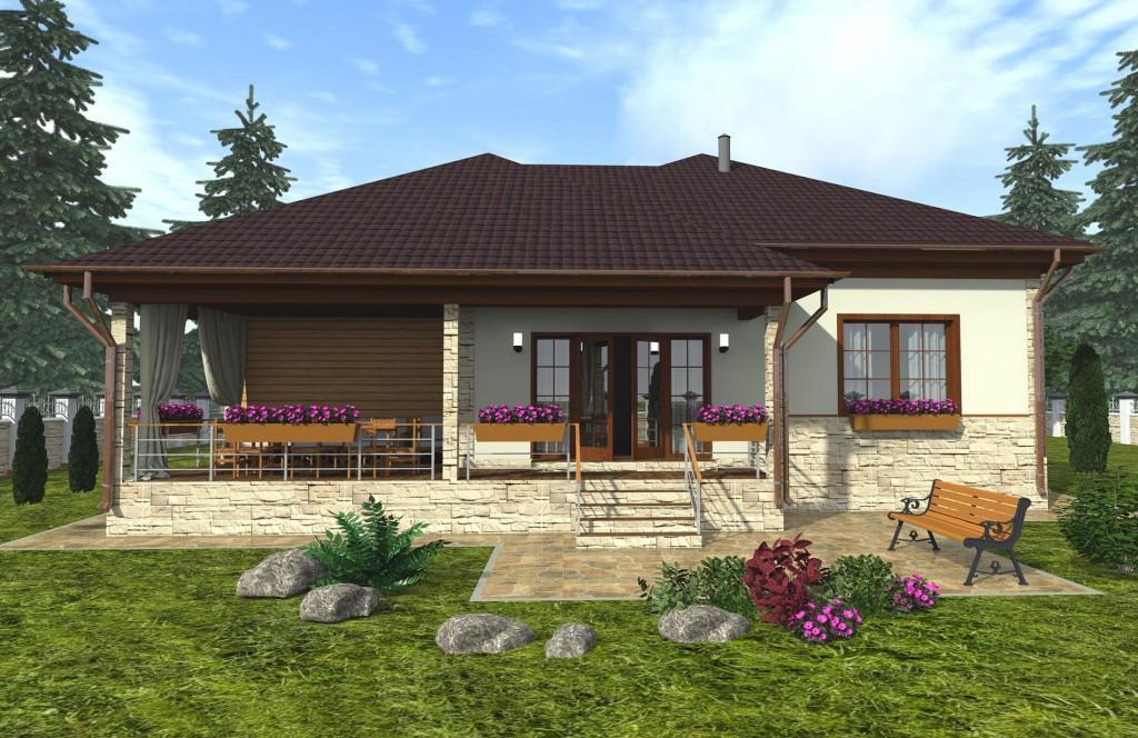 проект каркасного дома вид сзади