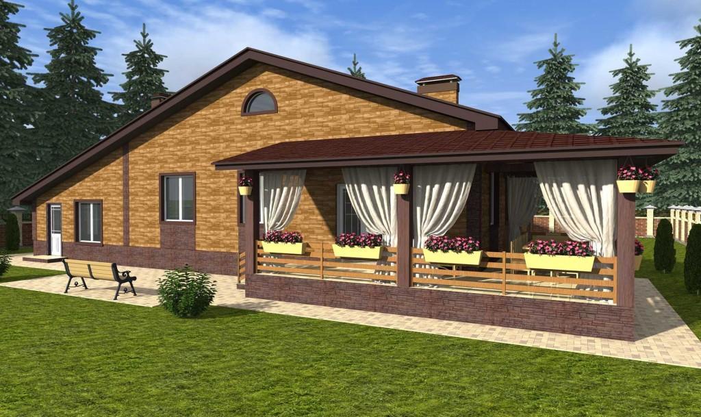 проект одноэтажного дома с гаражом вид сзади