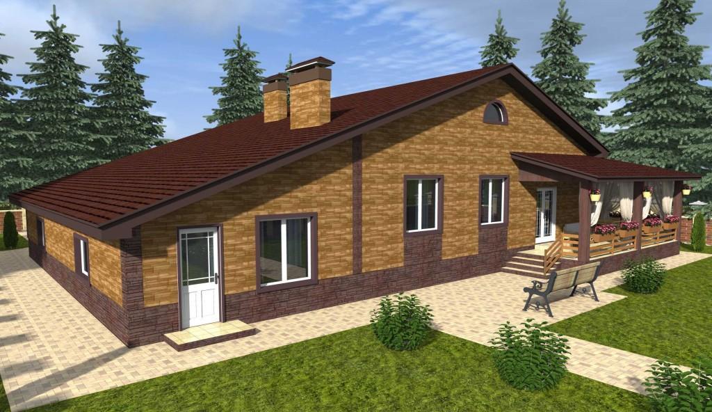 проект одноэтажного дома с гаражом вид 2
