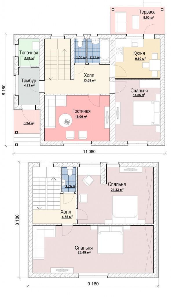 план дома до 150 кв м с мансардой