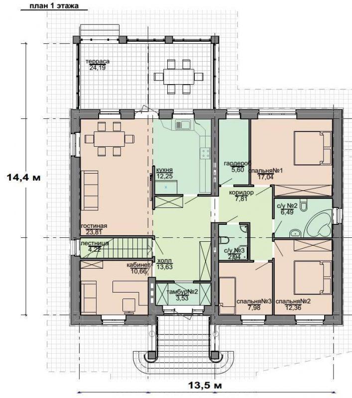 план одноэтажного кирпичного дома с подвалом