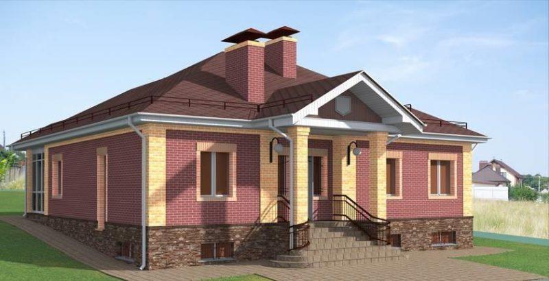 проект одноэтажного кирпичного дома с подвалом