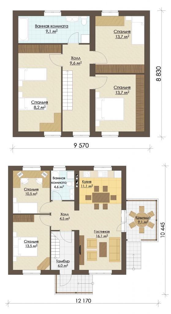 планы этажей простого дома с мансардой