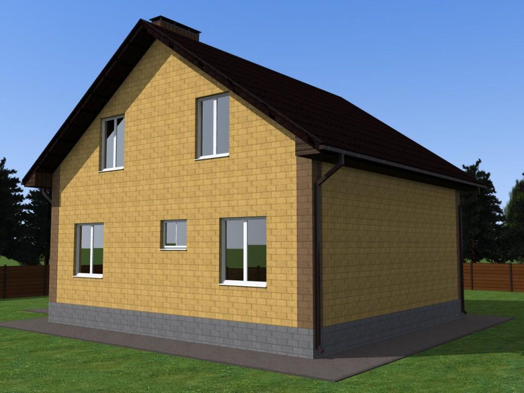 фасад простого дома с мансардой