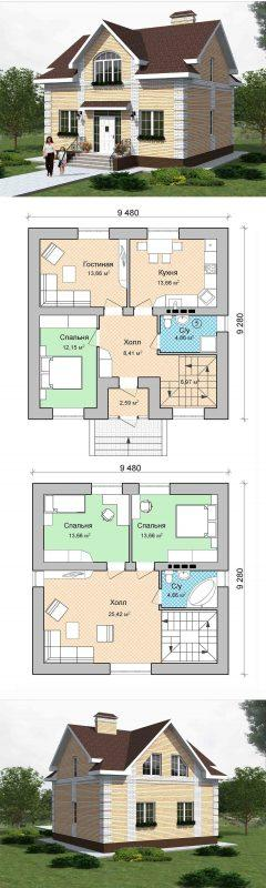 проект частного дома мансардой