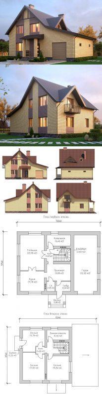проект дома с мансардой 160 м2