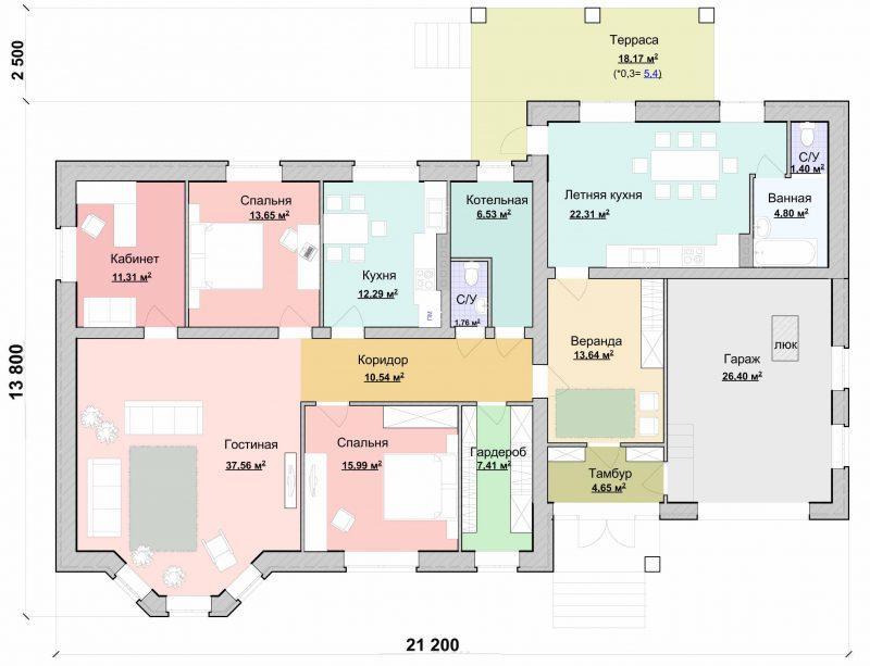 Проект одноэтажного дома с летней кухней и гаражом