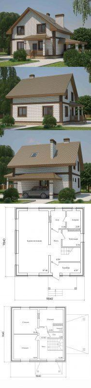 Проект простого дома с мансардой и тремя спальнями