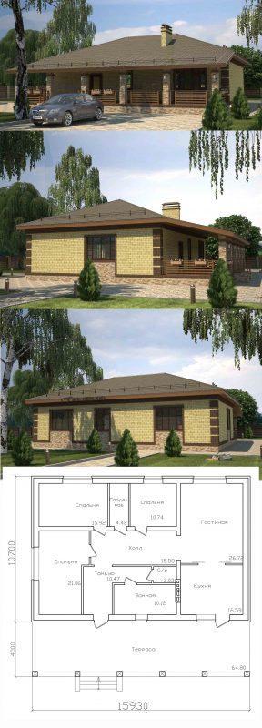Проект дома с большой террасой и тремя спальнями