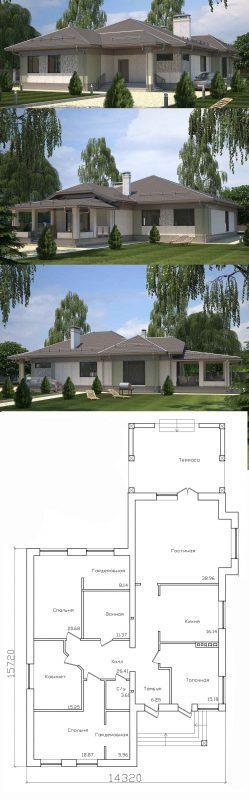 Проект загородного дома с большой гостиной и террасой