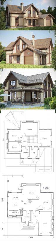 Проект дома с мансардой и 5 спальнями до 250 кв.м.