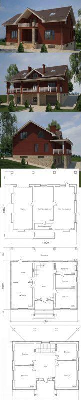 Проект дома на участке с уклоном 11 на 15 м