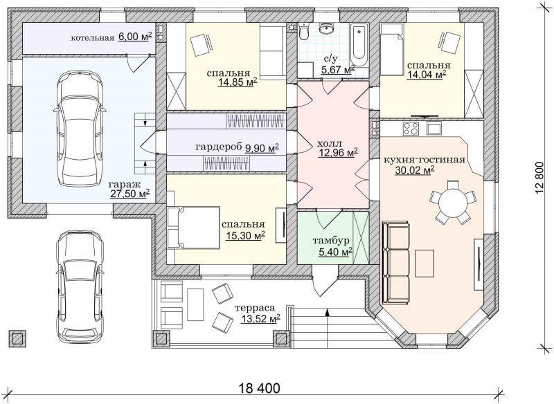Проект одноэтажного дома с гаражом и террасой до 150 кв.м.