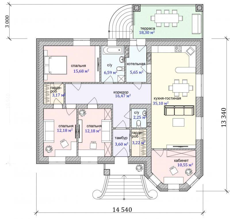 План дома с тремя спальнями 120 м2
