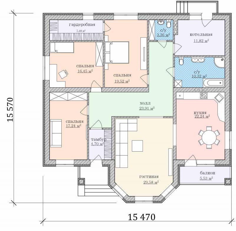 Проект дома с эркером, тремя спальнями и кухней-гостиной до 180 кв.м.