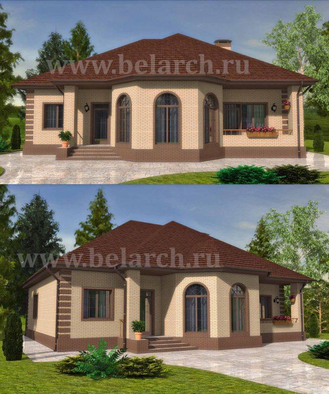 Проект дома с тремя спальнями кухней-гостиной и гаражом до 180 кв.м.
