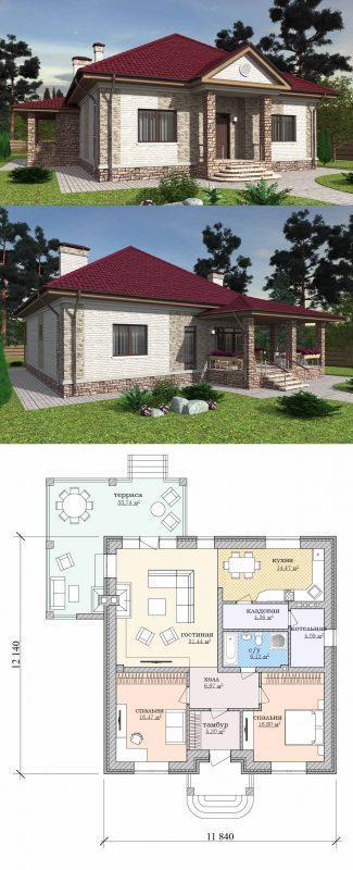 Проект небольшого частного одноэтажного дома