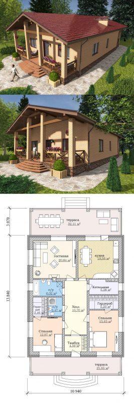 Проект частного дома с террасой до 150 кв.м.