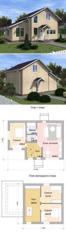 Проект маленького дома с мансардой 10.4 на 7.2 м