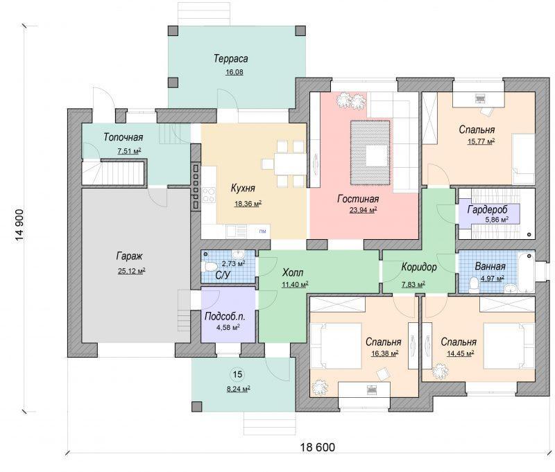 Проект дома с тремя спальнями, гостиной, гаражом и террасой до 170 м2