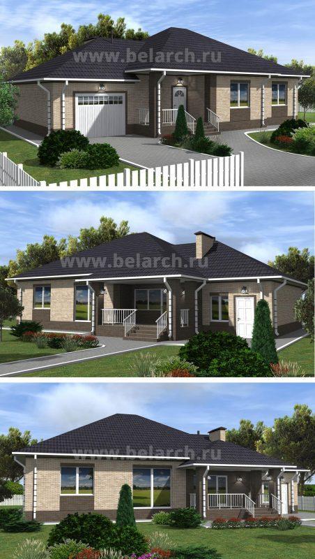 Проект дома с тремя спальнями, гаражом и террасой до 180 м2