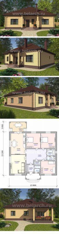 Гтовый план дома 13 на 15 метров.