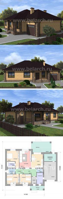 проект загородного дома с 3 спальнями