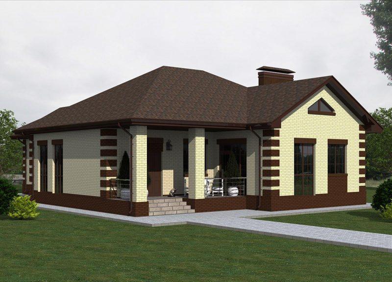 Проект одноэтажного дома с большой кухней